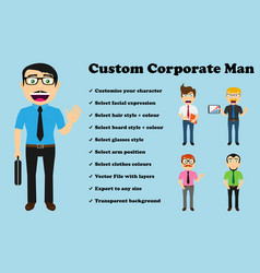 Custom corporate man no jacket vector