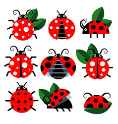 Cute ladybug icons cartoon-style bugs and vector