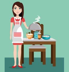 Cute woman cooking in the kitchen vector