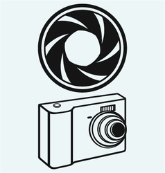 Digital photo camera and camera shutter vector