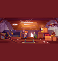 Dirty house attic with old furniture and boxes vector