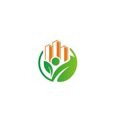 Eco building environment logo vector
