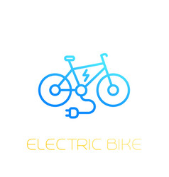 electric bike icon e-bike linear on white vector image