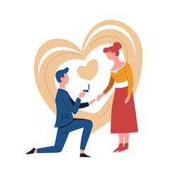 engagement or romantic proposal couple man and vector image
