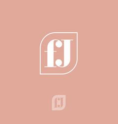 f and j letter leaf monogram combined frame vector image