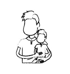 Figure nice father carrying his son in the hands vector