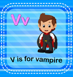 flashcard letter v is for vampire vector image