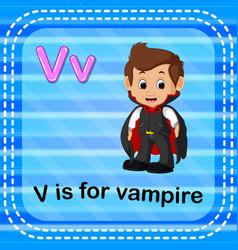 Flashcard letter v is for vampire vector