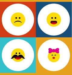 flat icon gesture set of caress cheerful sad and vector image