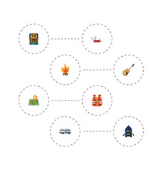 Flat icons caravan ship lifesaver and other vector