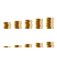 From 1 to 10 number of coins for infographics vector