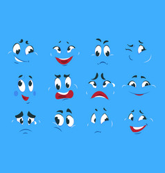 funny cartoon expressions evil angry faces crazy vector image