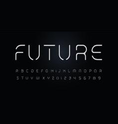 future stencil alphabet thin segment line font vector image
