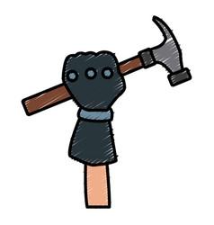 Glove holding hammer vector