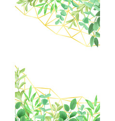 Gold geometric pattern and greenery vector