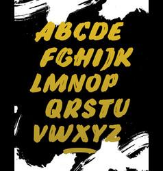 golden calligraphy font alphabet vector image