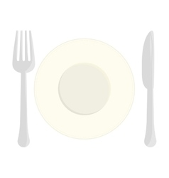 Gray fork knife and plate icon image vector