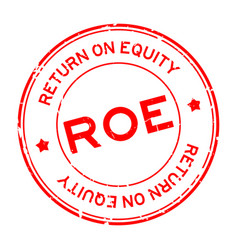 Grunge red roe abbbreviation return on equity vector