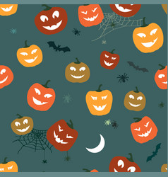 halloween pattern pumpkins and spiders horror vector image