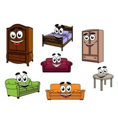 Happy sofas cupboards table bed cartoon vector image