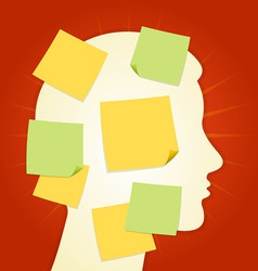 Head and paper stickers on Red vector image