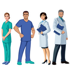 health care workers on white vector image