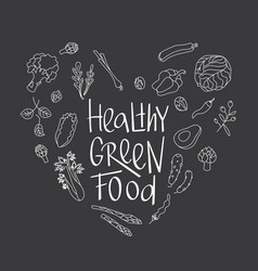 Healthy green food sign with green outline vector