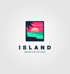 Island landscape logo design vector