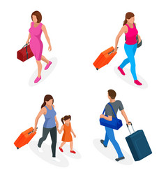 isometric people with travel bag traveling on vector image
