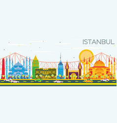 Istanbul skyline with color landmarks and blue sky vector