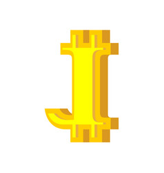 j letter bitcoin font cryptocurrency alphabet vector image