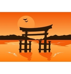 Japanese temple gate silhouette on lake at sunset vector