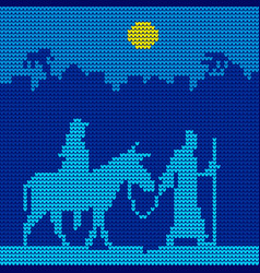 Joseph and mary are on a donkey vector