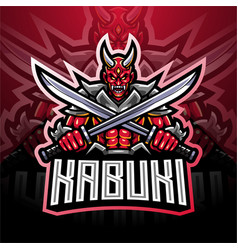 kabuki esport mascot logo design vector image