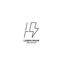 Letter h flash logo design vector