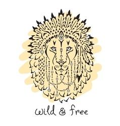 Lion in war bonnet animal native vector image