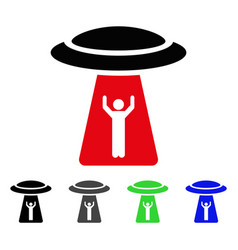 Man abduction ufo flat icon vector