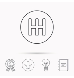 Manual gearbox icon Car transmission sign vector image