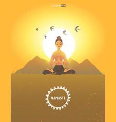 meditation girl morning vector image
