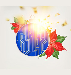 Microprocessor circuitry christmas design with red vector