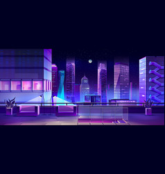 Modern city megapolis at night cityscape view vector
