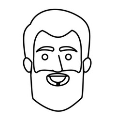 Monochrome contour of smiling man face with short vector