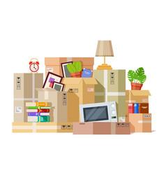 moving boxes carton box packing family stuff vector image
