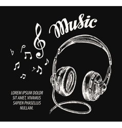 Music Hand drawn headphones vector image