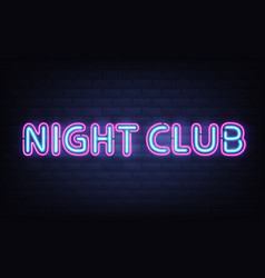 Night club neon lettering on brick wall background vector