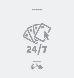 Online poker gaming 247 - web icon vector