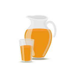 orange juice in transparent glass jar cup vector image