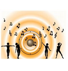 Orange Music Background waves vector image