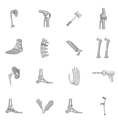 orthopedic and spine icons set monochrome vector image