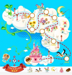 Pirate Treasure Map Sky Castle vector image
